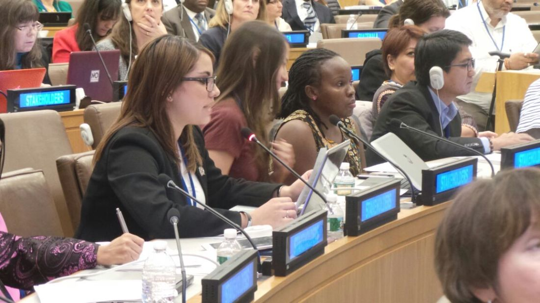 Merybell Nabilah, youth delegate speaking at a UN SDG negotiation on behalf of the Major Group for Children and Youth
