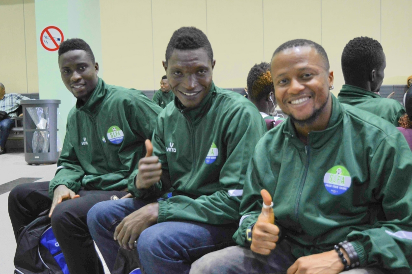 """[""""It's sad not to play games in front of our crowd, but watch out for us in Rio!"""" - Alfred Nyuma, central midfielder (right). Also Suma Sabu, Centre Back, (centre), Abu Bakarr Mensaray, Attacking Midfielder"""