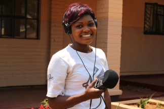 """""""The radio station that we are working with is one of the biggest in Kabwe… so it is the easiest way of reaching a large number of people. Once people have knowledge about rape and the psychological effects it has a young person or a victim, they will get to know how they can find help from the hospital, and how they can quickly report it and get support. Now that I'm involved with Restless I have been learning throughout and I'm still learning. It has really changed me."""" Purity, 20, community journalist. (PC Restless Development/ Gemma Munday)"""