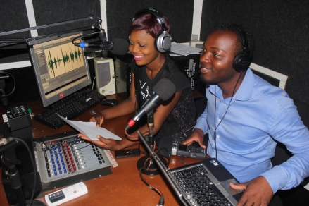 Community journalists Purity and Andrew recording a show at KNC radio station, as part of the Tikambe project. Tikambe! (Let's Talk!) is a joint BBC Media Action and Restless Development project in Zambia using TV, radio and online media to help young people look after their sexual health and improve their knowledge of their reproductive rights. (PC Restless Development/ Gemma Munday)