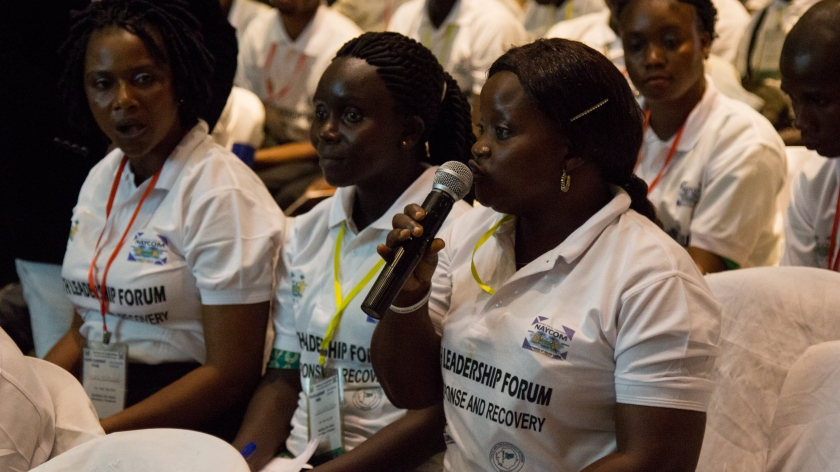 Volunteer asks question at National Forum on Youth Ebola Leadership